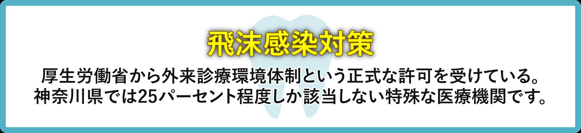 飛沫感染対策 厚生労働省から外来診療環境体制という正式な許可を受けている。神奈川県では25パーセント程度しか該当しない特殊な医療機関です。